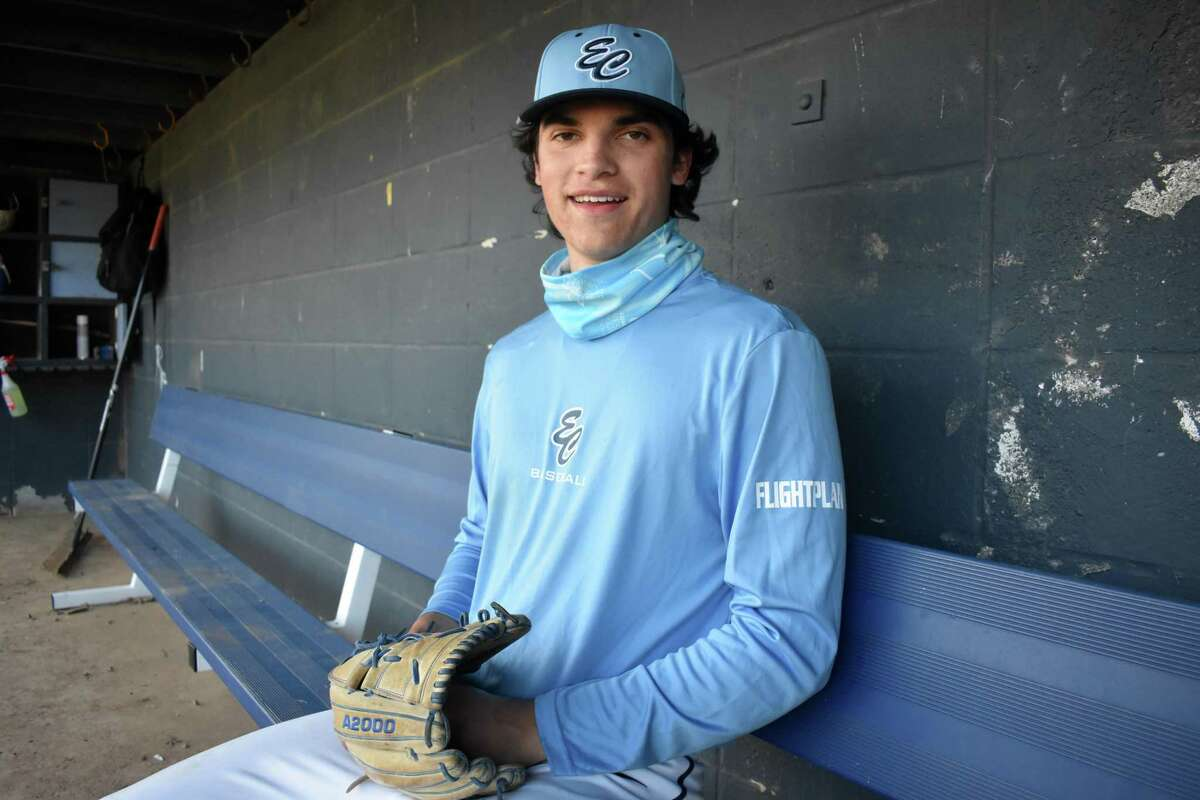 East Catholic pitcher Frank Mozzicato is one of the best pitchers in the state this season. He is committed to play at UConn and has had close to two dozen scouts at his starts this season. Mozzicato poses during practice at East Catholic high school in Manchester on Tuesday, April 27, 2021.