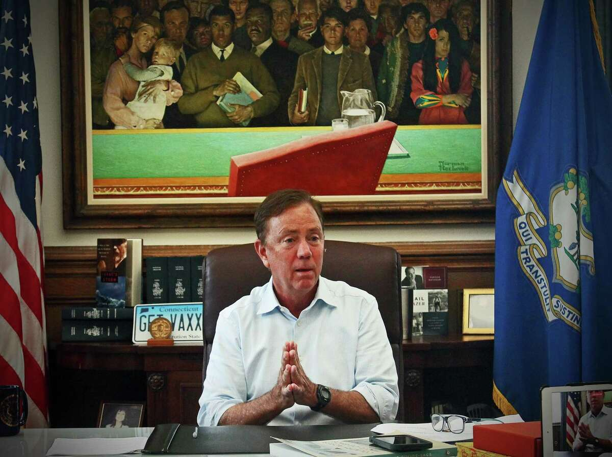 Gov. Ned Lamont during an interview with the Hearst Connecticut Media Editorial Board in his office at the Capitol in Hartford.