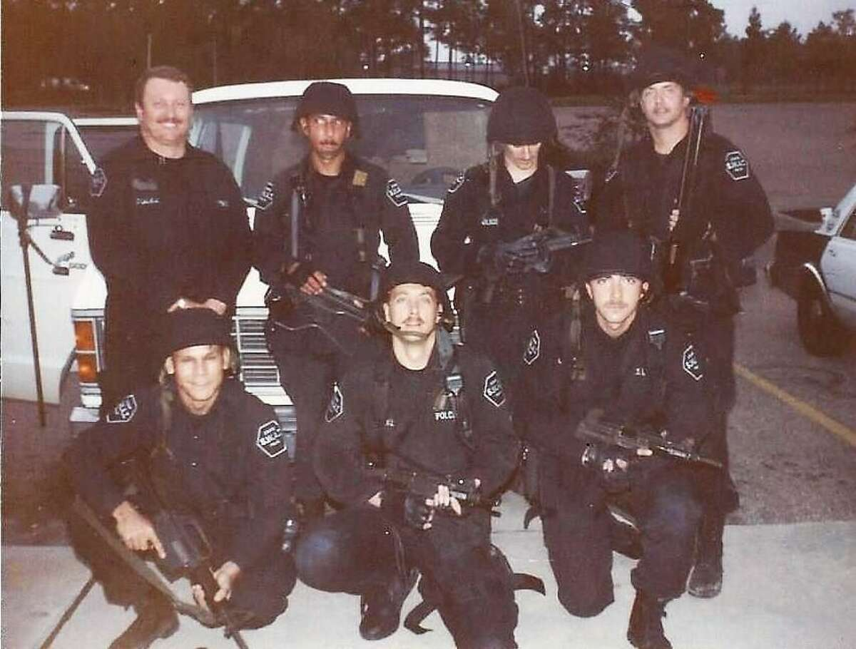 Conroe Police Department SWAT Commander John T. Lindon pictured with team members in 1984.