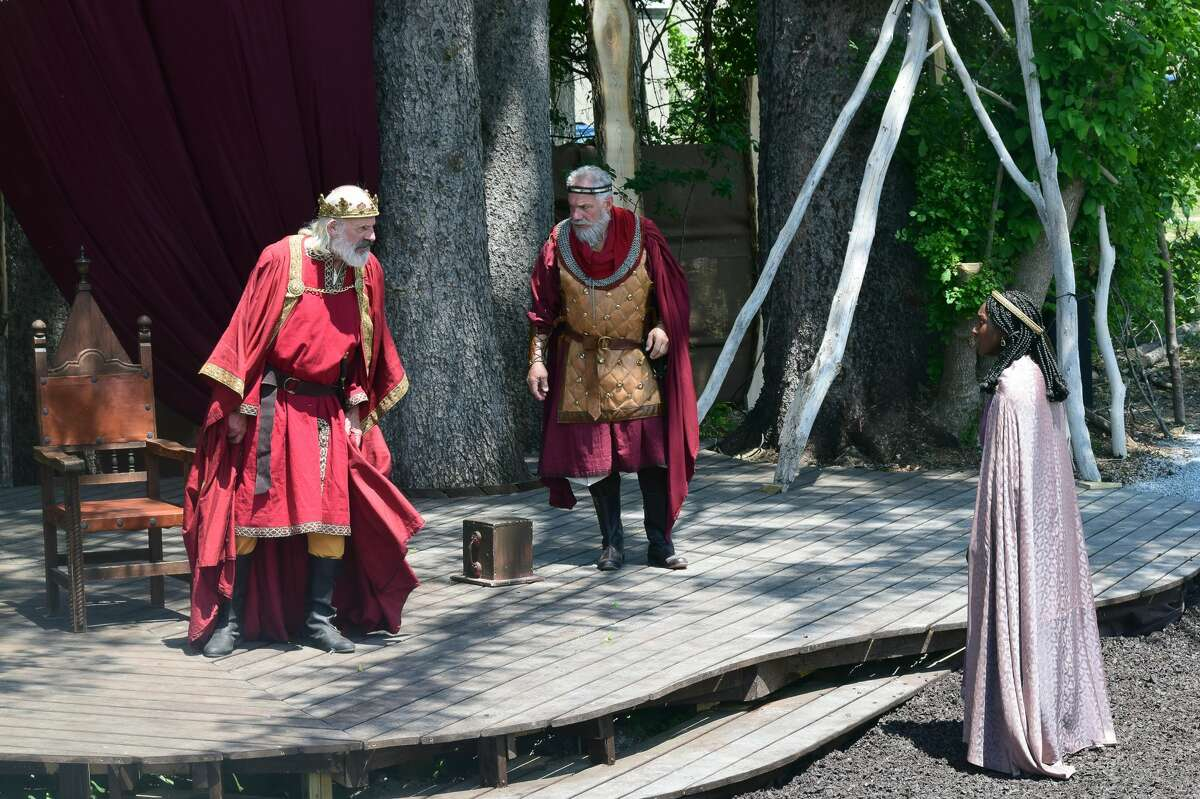 """From left, TV and film actor Christopher Lloyd as King Lear, Jonathan Epstein as Kent and Jasmine Cheri Rush as Lear's youngest daughter, Cordelia, in Shakespeare & Company's """"King Lear,"""" running through Aug. 28, 2021, on the company's New Spruce Stage. (Katie McKellick/Shakespeare & Company)"""