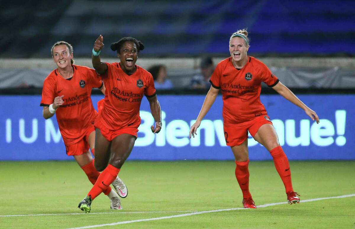 The Dash will be counting more on Jasmyne Spencer, celebrating a goal last week against the OL Reign who had traded her to Houston.