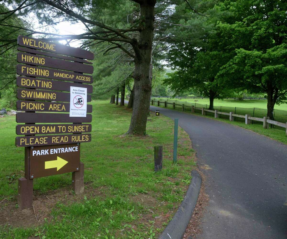 Squantz Pond State Park was closed to swimming on Thursday and other towns on Candlewood Lake also did not have beaches open for swimming. May 28, 2020, in New Fairfield, Conn.