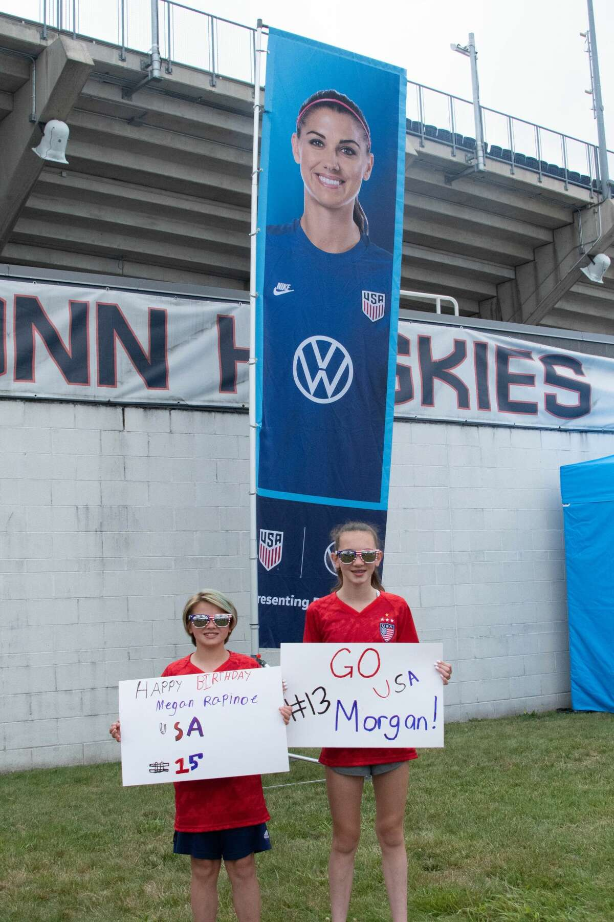 Kennedy, 9, and Myah Hovey, 12, of Cohoes at the US Women's Soccer National Team game at Pratt & Whitney Stadium in East Hartford, Conn. during a Send-Off Series match against Mexico on Monday, July 5, 2021. The U.S. won 4-0 over Mexico. (Joyce Bassett / Special to the Times Union)