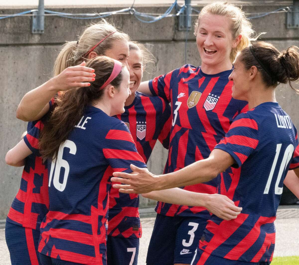 US Women's Soccer National Team members celebrate a goal in a Send-Off Series match against Mexico at Pratt & Whitney Stadium in East Hartford, Conn. on Monday, July 5, 2021. The U.S. won 4-0 over Mexico. (Joyce Bassett / Special to the Times Union)