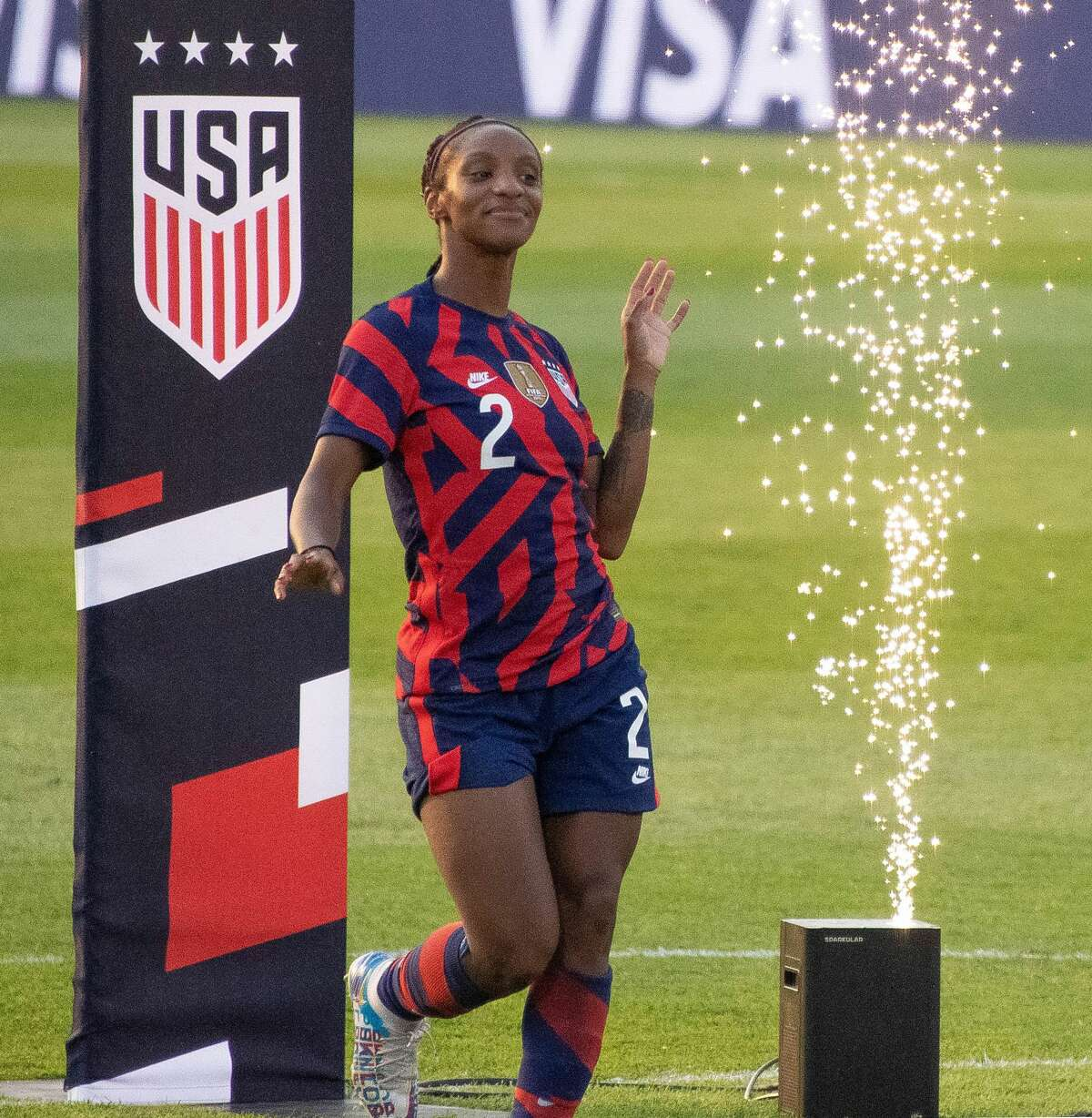 Crystal Dunn of the US Women's Soccer National Team during a Send-Off ceremony at Pratt & Whitney Stadium in East Hartford, Conn. after a match against Mexico on Monday, July 5, 2021. The U.S. won 4-0 over Mexico. (Joyce Bassett / Special to the Times Union)