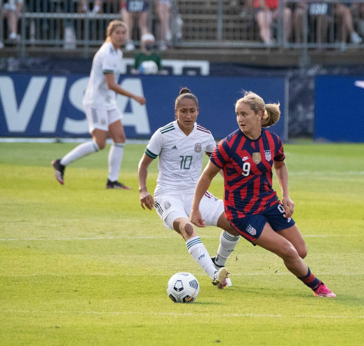 Lindsey Horan of the US Women's Soccer National Team during a Sendoff-Series match against Mexico at Pratt & Whitney Stadium in East Hartford, Conn. on Monday, July 5, 2021. The U.S. won 4-0 over Mexico. (Joyce Bassett / Special to the Times Union)