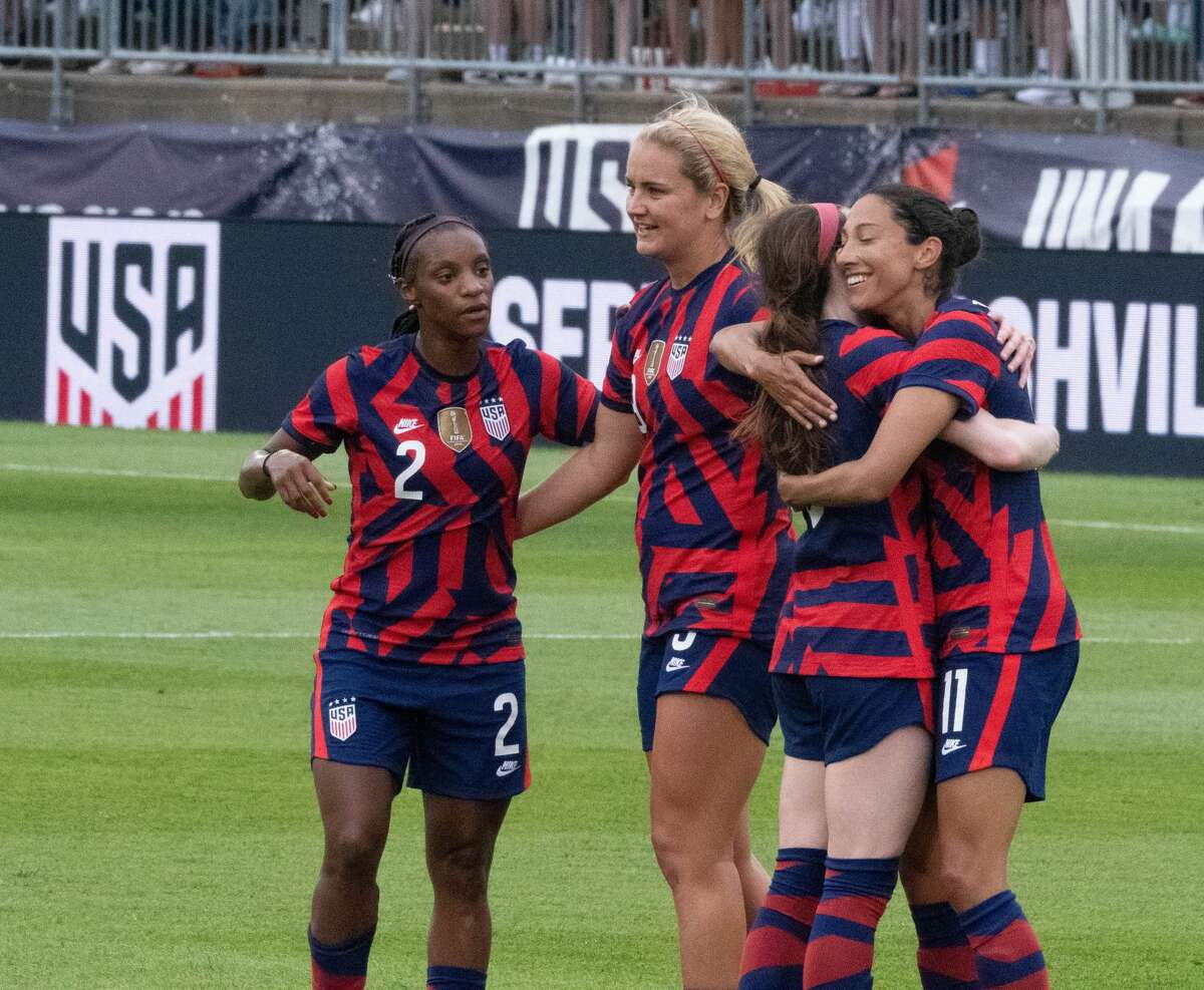 US Women's Soccer National Team members Crystal Dunn, Lindsey Horan, Rose Lavelle and Christen Press celebrate a goal in a Send-Off Series match against Mexico at Pratt & Whitney Stadium in East Hartford, Conn. on Monday, July 5, 2021. The U.S. won 4-0 over Mexico. (Joyce Bassett / Special to the Times Union)