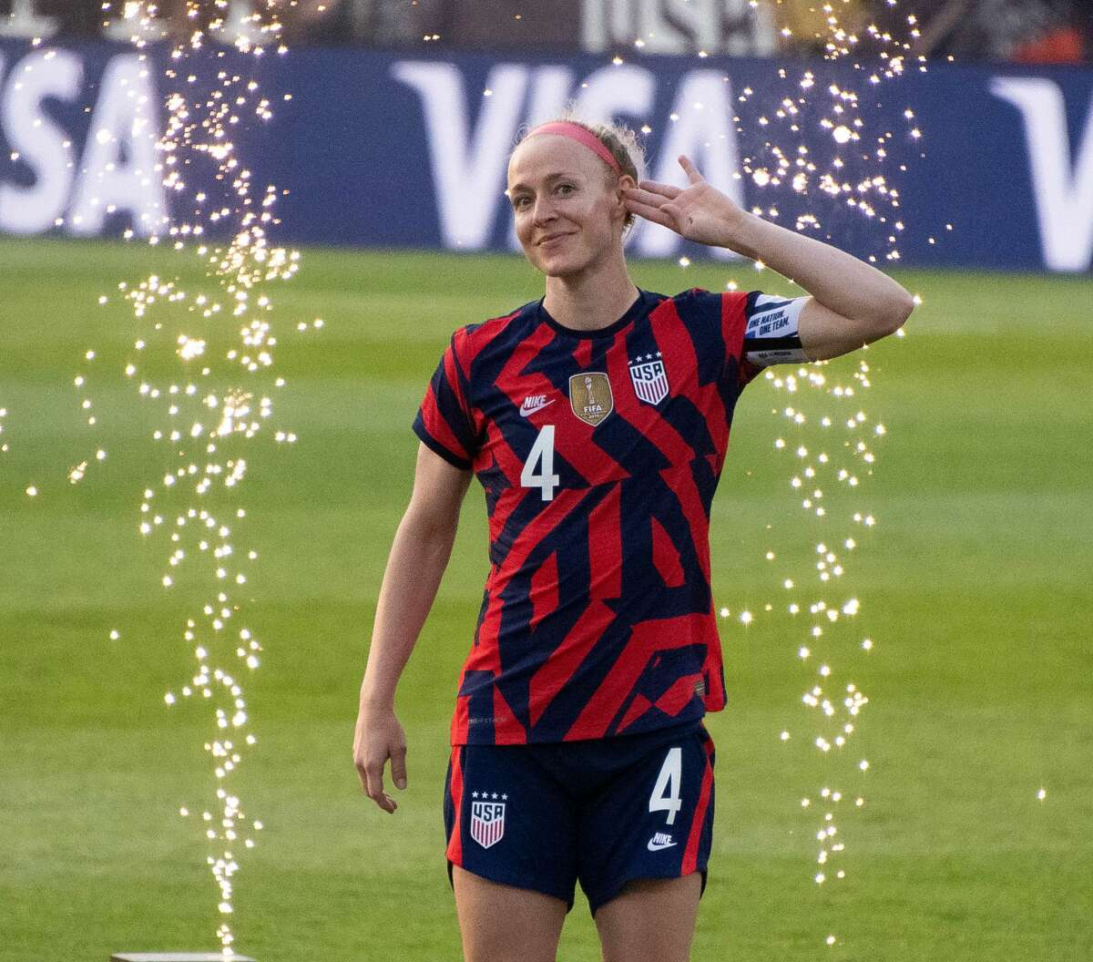 Team captain Becky Sauerbrunn of the US Women's Soccer National Team during a Send-Off ceremony at Pratt & Whitney Stadium in East Hartford, Conn. after a match against Mexico on Monday, July 5, 2021. The U.S. won 4-0 over Mexico. (Joyce Bassett / Special to the Times Union)