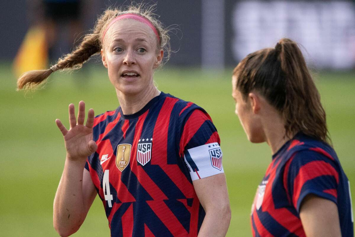 Team captain Becky Sauerbrunn and Kelley O'Hara of the US Women's Soccer National Team during a Send-Off Series match against Mexico at Pratt & Whitney Stadium in East Hartford, Conn. on Monday, July 5, 2021. The U.S. won 4-0 over Mexico. (Joyce Bassett / Special to the Times Union)