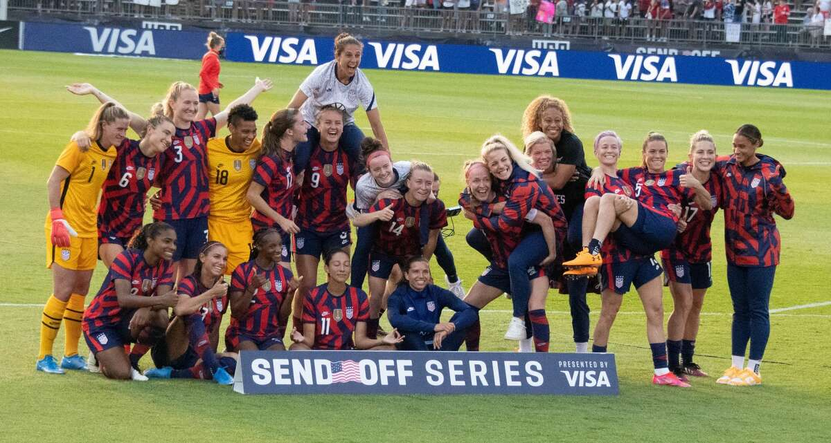 The US Women's Soccer National Team during a Send-Off ceremony at Pratt & Whitney Stadium in East Hartford, Conn. after a match against Mexico on Monday, July 5, 2021. The U.S. won 4-0 over Mexico. (Joyce Bassett / Special to the Times Union)