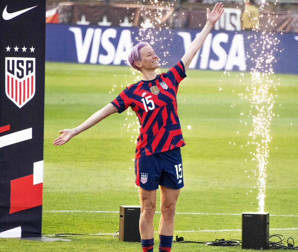 Megan Rapinoe of the US Women's Soccer National Team during a Send-Off ceremony at Pratt & Whitney Stadium in East Hartford, Conn. after a match against Mexico on Monday, July 5, 2021. The U.S. won 4-0 over Mexico. (Joyce Bassett / Special to the Times Union)