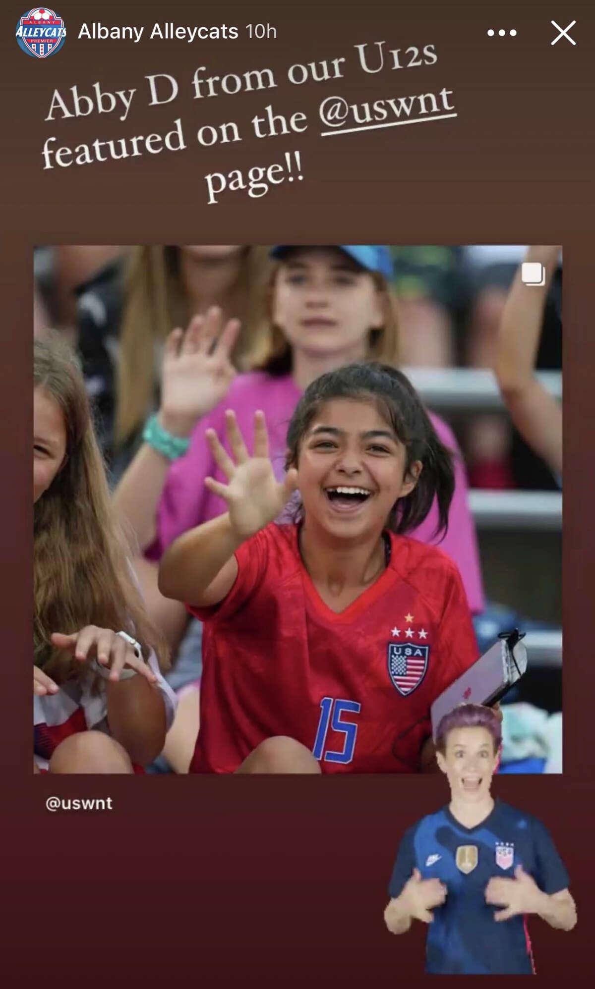 Albany Alleycat Abby deMoulpied of Colonie made the USWNT Instagram page when she attended the Send-Off Series match against Mexico at Pratt & Whitney Stadium in East Hartford, Conn. on July 1, 2021.