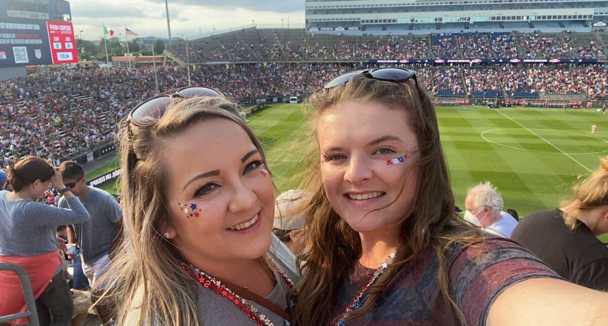 Emily Martin of Averill Park and Colleen Mason of Colonie at the US Women's Soccer National Team game at Pratt & Whitney Stadium in East Hartford, Conn. during a Send-Off Series match against Mexico on Monday, July 5, 2021. The U.S. won 4-0 over Mexico. (Provided)