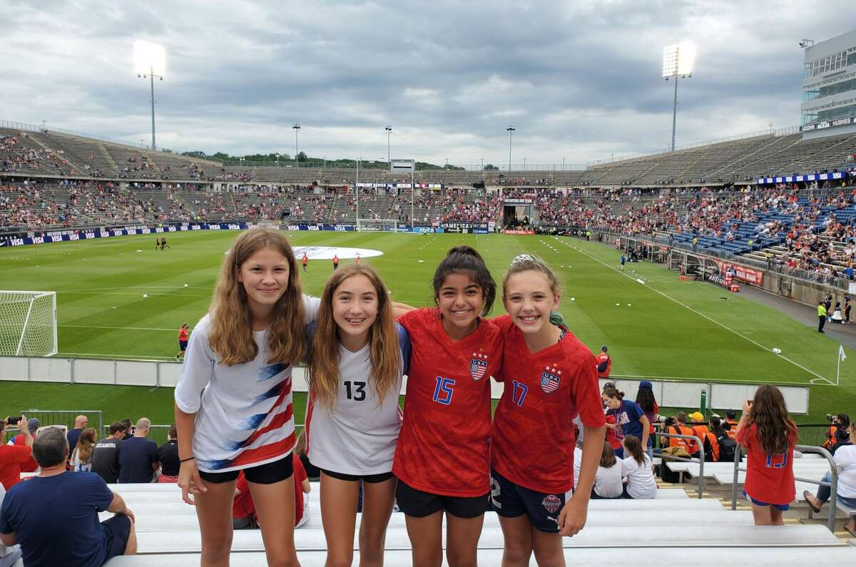 Albany Alleycat players Zoe, Olivia, Abby and Payton at a Send-Off Series match against Mexico at Pratt & Whitney Stadium in East Hartford, Conn. on July 1, 2021. (Provided)