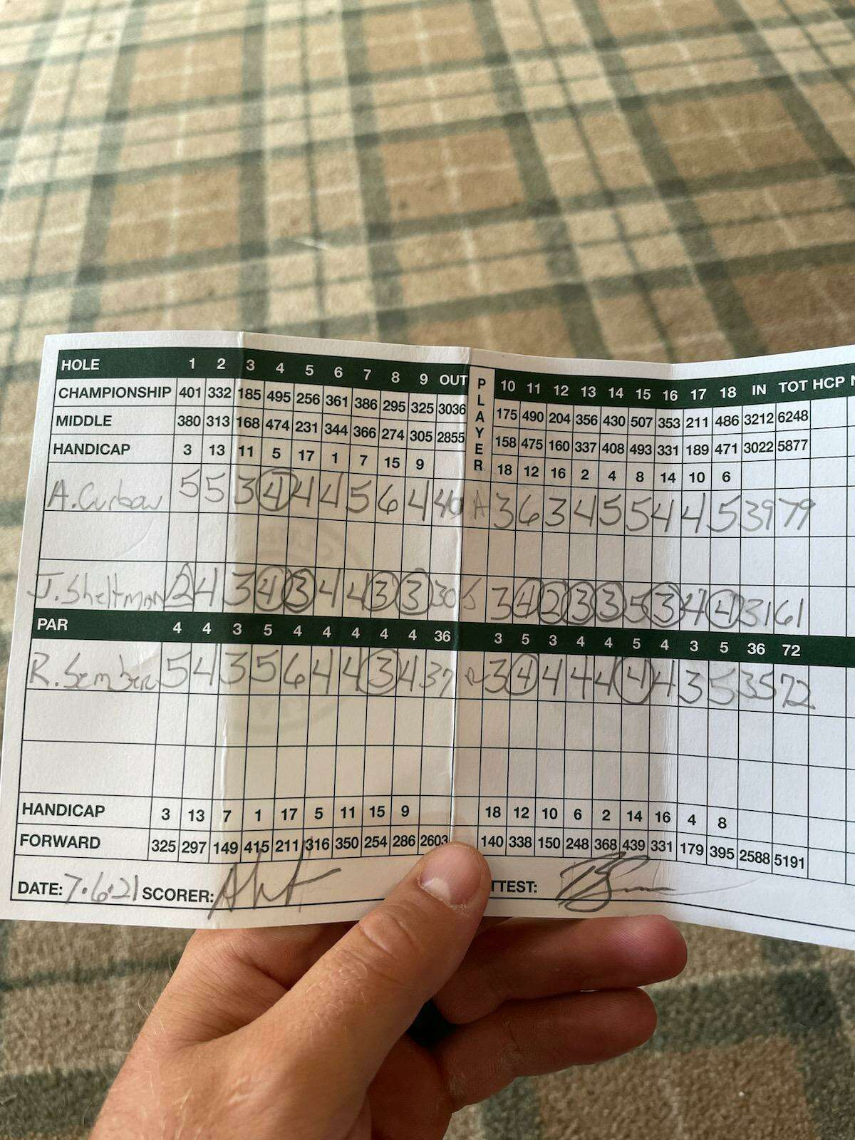 The new course record at Alling Memorial Golf Course belongs to James Sheltman. His 11-under-par round of 61, shot on July 6 is the middle one.