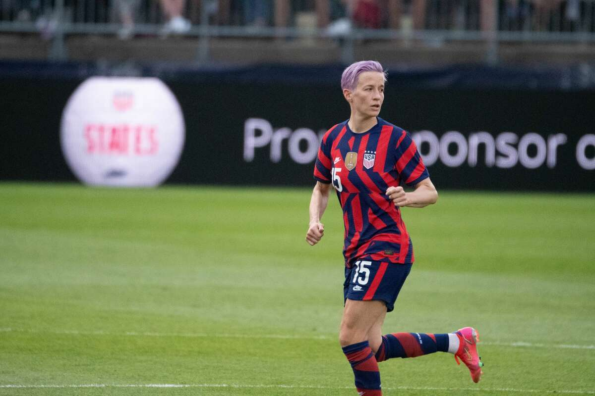 Megan Rapinoe of the US Women's Soccer National Team during a Send-Off Series match against Mexico at Pratt & Whitney Stadium in East Hartford, Conn. on Monday, July 5, 2021. The U.S. won 4-0 over Mexico. (Joyce Bassett / Special to the Times Union)