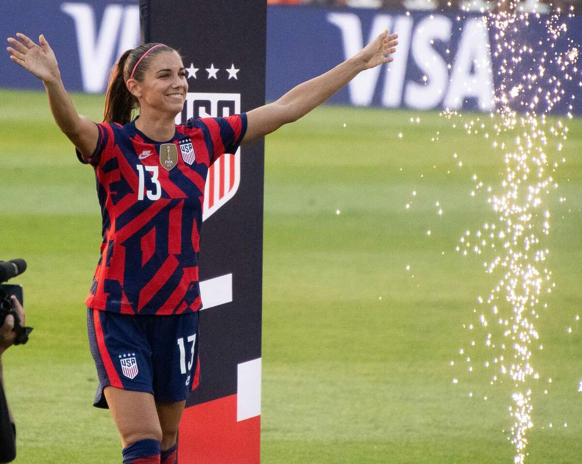 Alex Morgan of the US Women's Soccer National Team during a Send-Off Series celebration at Pratt & Whitney Stadium in East Hartford, Conn. on Monday, July 5, 2021. The U.S. won 4-0 over Mexico. (Joyce Bassett / Special to the Times Union)