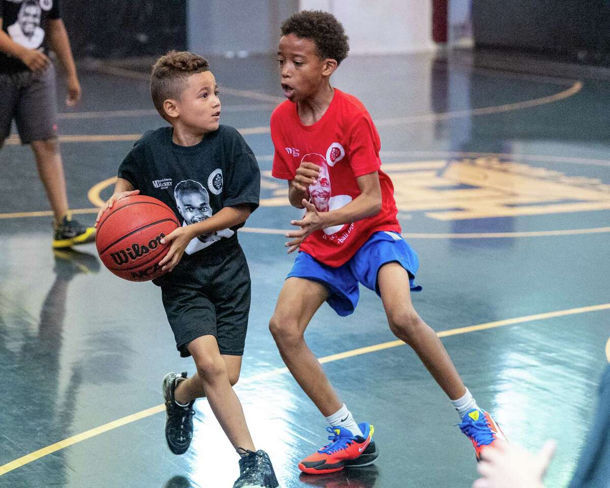 Players during a game at the House of Hoops on First Street in Albany, NY, during a community day and basketball tournament sponsored by the Warren Mackey Foundation on Saturday, July 10, 2021. (Jim Franco/Special to the Times Union)