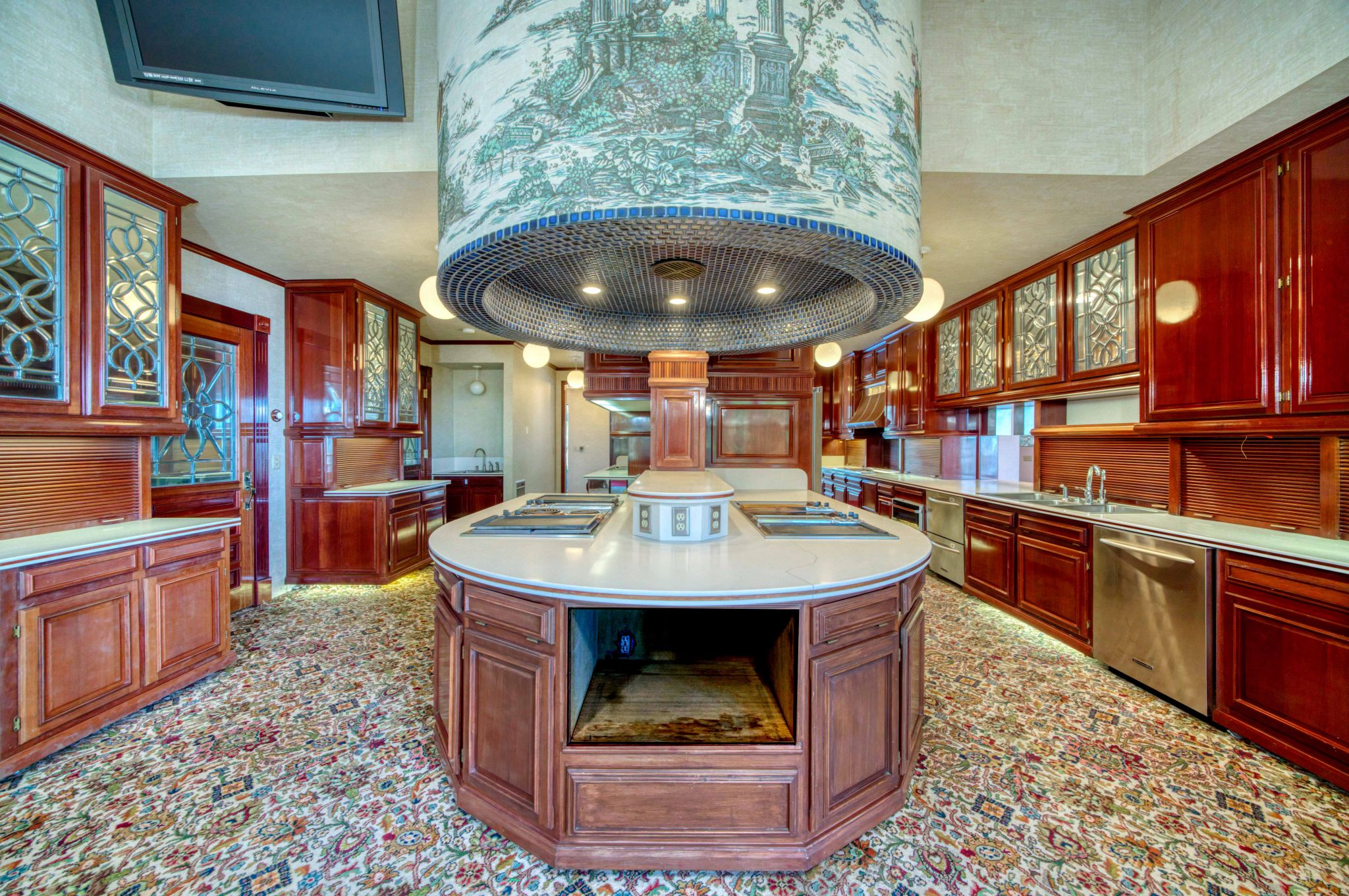 There is a massive kitchen, with cabinets constructed from rare purpleheart wood.