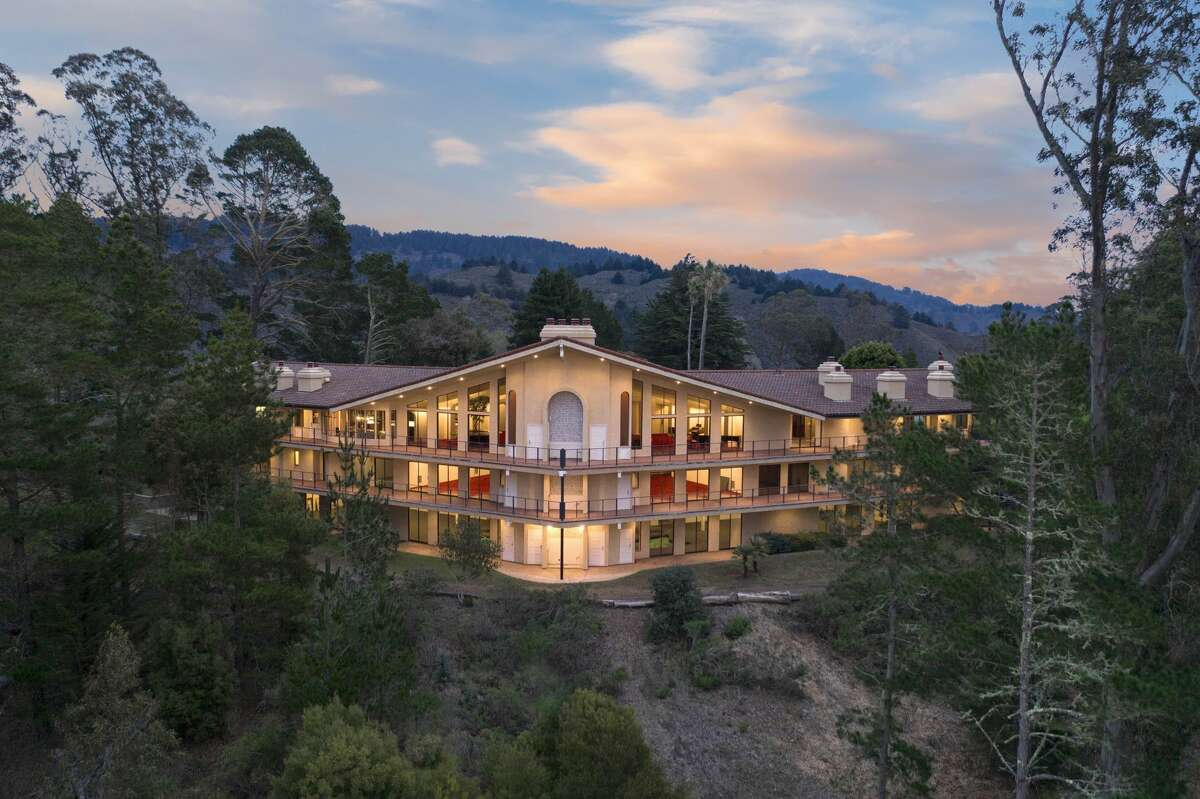 The massive home is perched on a hilltop about an hour south of San Francisco, overlooking the Pacific Ocean.