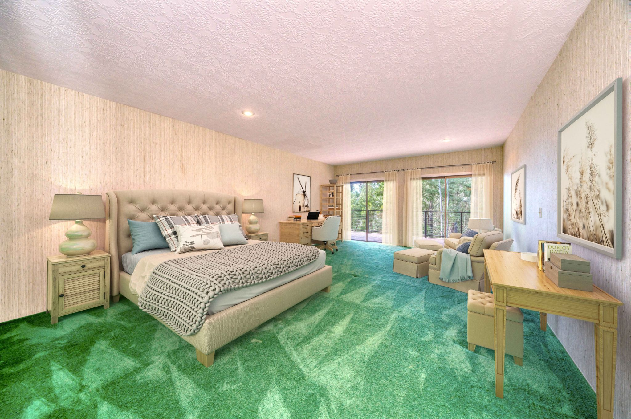 The '80s color palette continues with this pistachio green carpet.