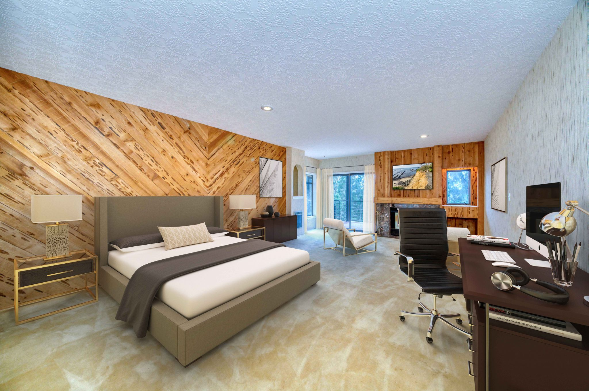 There are nine bedrooms in the home. The primary suite includes a reception area, conference room and study.