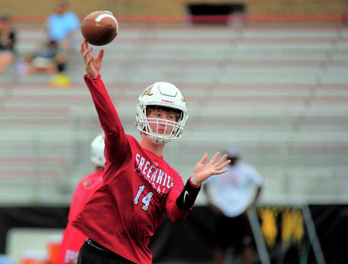 Greenwich QB Jack Wilson throws a pass during the Grip It and Rip It 7-on-7 tournament in New Canaan on Saturday.