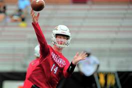 Greenwich QB Jack Wilson throws a pass during the Grip It and Rip It 7-on-7 tournament in New Canaan, Conn., on Saturday July 10, 2021.