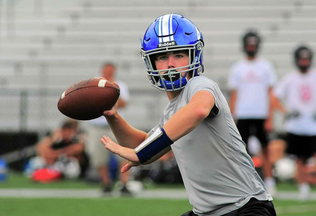 Fairfield Ludlowe QB Jackson Cook during Grip It and Rip It 7-on-7 football tournament action in New Canaan, Conn., on Saturday July 10, 2021.