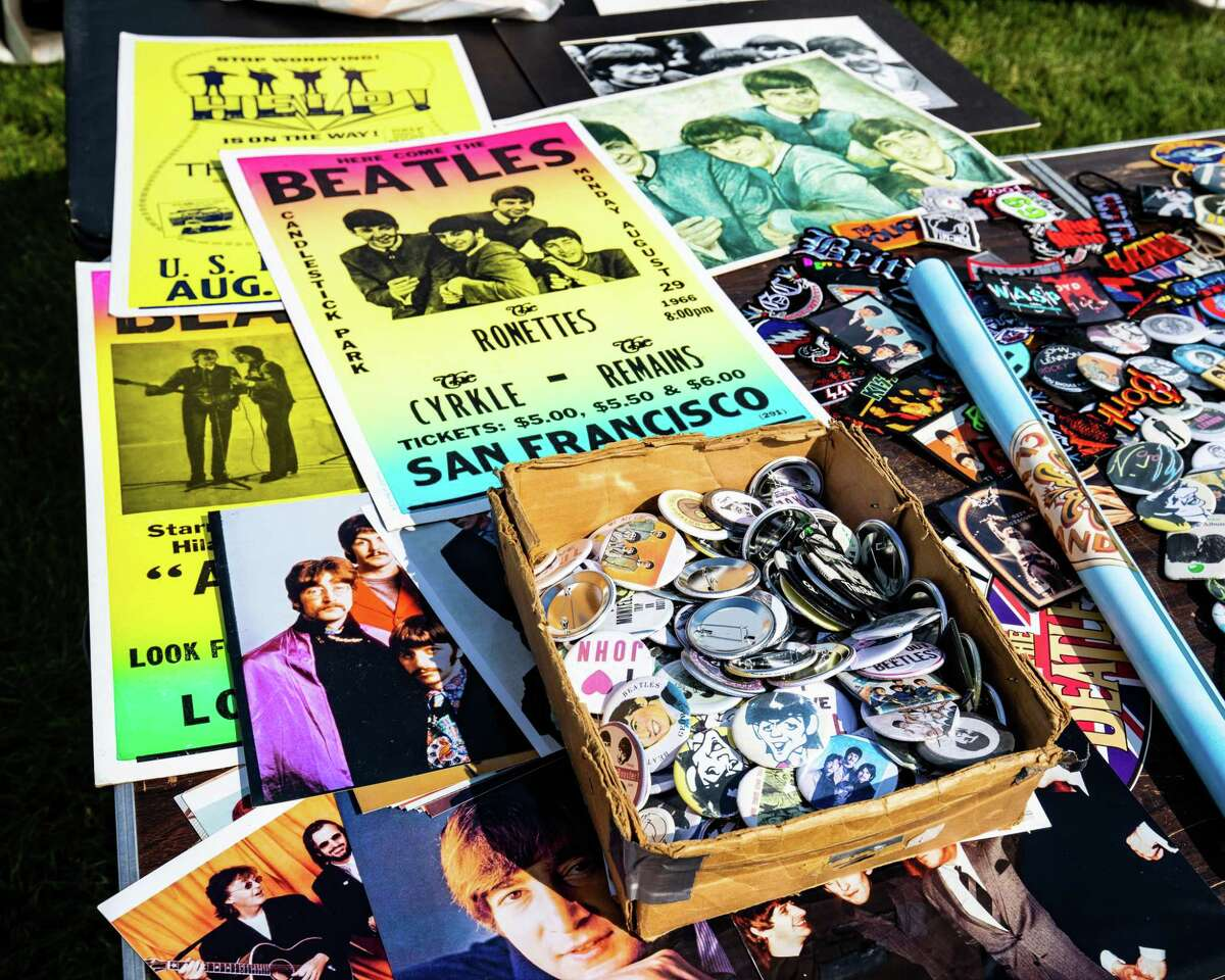 Beatles and Monkees memorbilia on display at the Fab 4 Music Festival at Nolan Field in Ansonia on Saturday, July 10 2021.