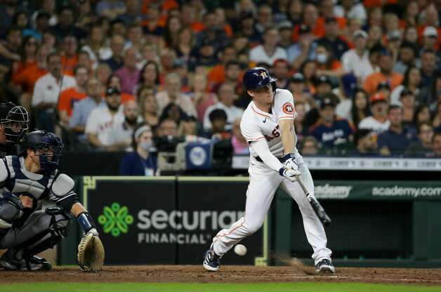 Houston Astros center fielder Myles Straw (3) strikes out swinging against the New York Yankees during the fifth inning of an MLB game at Minute Maid Park on Saturday, July 10, 2021, in Houston. Photo: Godofredo A Vásquez/Staff Photographer / © 2021 Houston Chronicle