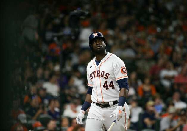 Houston Astros designated hitter Yordan Alvarez (44) walks to the dugout after striking out against New York Yankees starting pitcher Gerrit Cole (45) during the seventh inning of an MLB game at Minute Maid Park on Saturday, July 10, 2021, in Houston. Photo: Godofredo A Vásquez/Staff Photographer / © 2021 Houston Chronicle