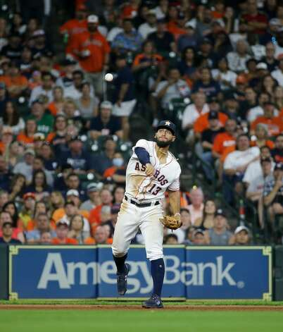 Houston Astros shortstop Robel Garcia (9) throws to first base for an out against the New York Yankees during the seventh inning of an MLB game at Minute Maid Park on Saturday, July 10, 2021, in Houston. Photo: Godofredo A Vásquez/Staff Photographer / © 2021 Houston Chronicle