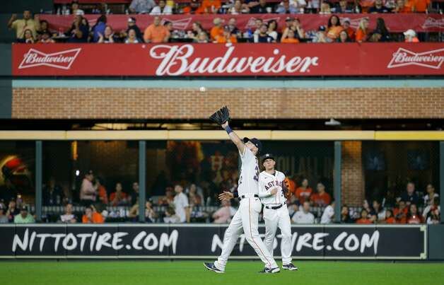 Houston Astros right fielder Kyle Tucker (30) catches a ball for an out against the New York Yankees during the sixth inning of an MLB game at Minute Maid Park on Saturday, July 10, 2021, in Houston. Photo: Godofredo A Vásquez/Staff Photographer / © 2021 Houston Chronicle