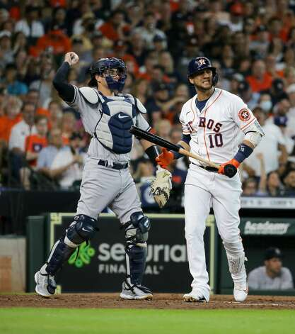 Houston Astros first baseman Yuli Gurriel (10) reacts after striking out with two runners on during the fourth inning of an MLB game against the New York Yankees at Minute Maid Park on Saturday, July 10, 2021, in Houston. Photo: Godofredo A Vásquez/Staff Photographer / © 2021 Houston Chronicle