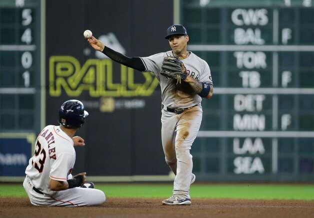 New York Yankees shortstop Gleyber Torres (25) turns a double play against the Houston Astros during the fourth inning of an MLB game at Minute Maid Park on Saturday, July 10, 2021, in Houston. Photo: Godofredo A Vásquez/Staff Photographer / © 2021 Houston Chronicle