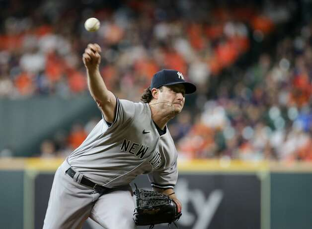New York Yankees starting pitcher Gerrit Cole (45) throws against the Houston Astros during the second inning of an MLB game at Minute Maid Park on Saturday, July 10, 2021, in Houston. Photo: Godofredo A Vásquez/Staff Photographer / © 2021 Houston Chronicle