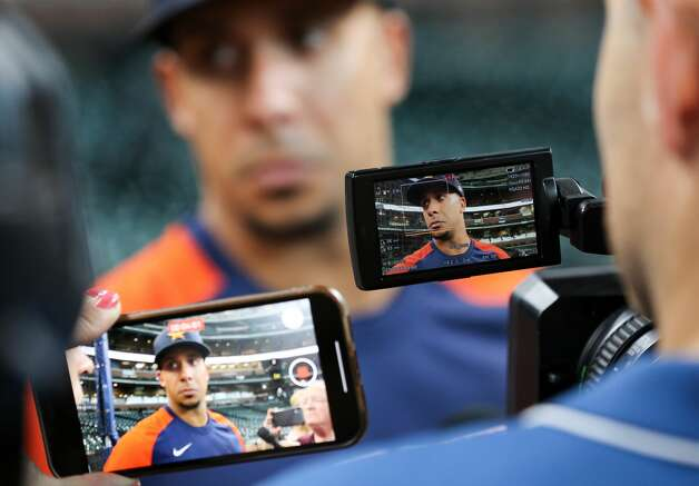 Houston Astros left fielder Michael Brantley (23) talks to reporters before an MLB game against the New York Yankees at Minute Maid Park on Saturday, July 10, 2021, in Houston. Photo: Godofredo A Vásquez/Staff Photographer / © 2021 Houston Chronicle