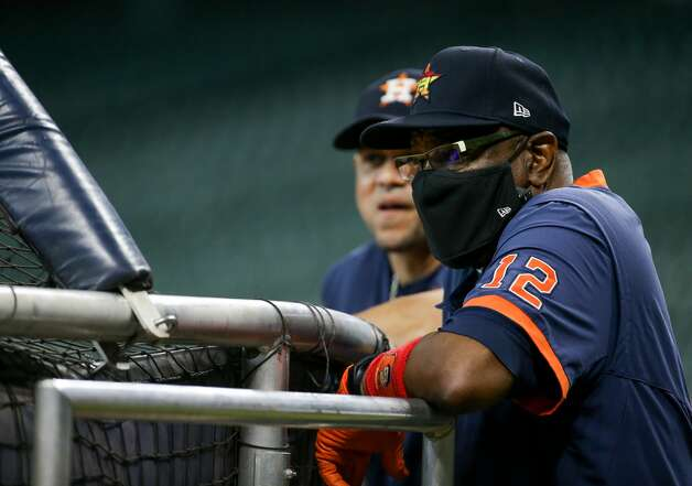 Houston Astros manager Dusty Baker Jr. (12) watches batting practice before an MLB game against the New York Yankees at Minute Maid Park on Saturday, July 10, 2021, in Houston. Photo: Godofredo A Vásquez/Staff Photographer / © 2021 Houston Chronicle