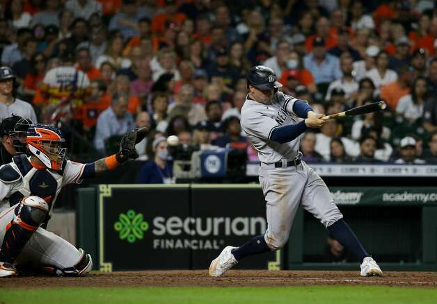 New York Yankees left fielder Tim Locastro (33) strikes out against the Houston Astros during the seventh inning of an MLB game at Minute Maid Park on Saturday, July 10, 2021, in Houston. Photo: Godofredo A Vásquez/Staff Photographer / © 2021 Houston Chronicle