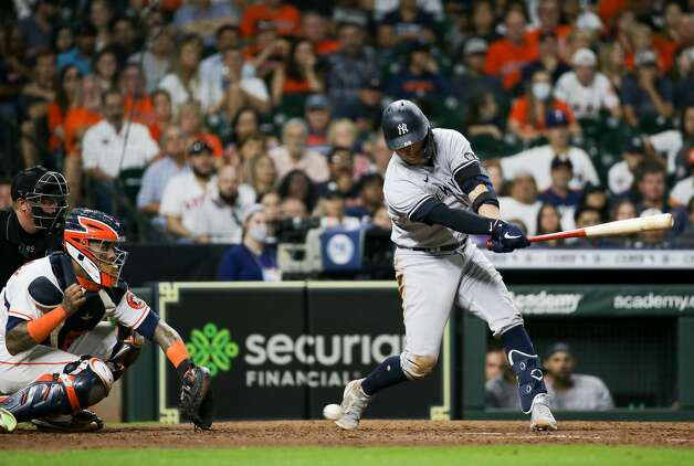 New York Yankees catcher Kyle Higashioka (66) strikes out against the Houston Astros during the 9th inning of an MLB game at Minute Maid Park on Saturday, July 10, 2021, in Houston. Photo: Godofredo A Vásquez/Staff Photographer / © 2021 Houston Chronicle