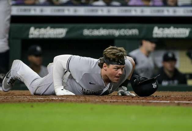 New York Yankees first baseman Luke Voit (59) after avoiding being hit by a pitch during the eighth inning of an MLB game against the Houston Astros at Minute Maid Park on Saturday, July 10, 2021, in Houston. Photo: Godofredo A Vásquez/Staff Photographer / © 2021 Houston Chronicle