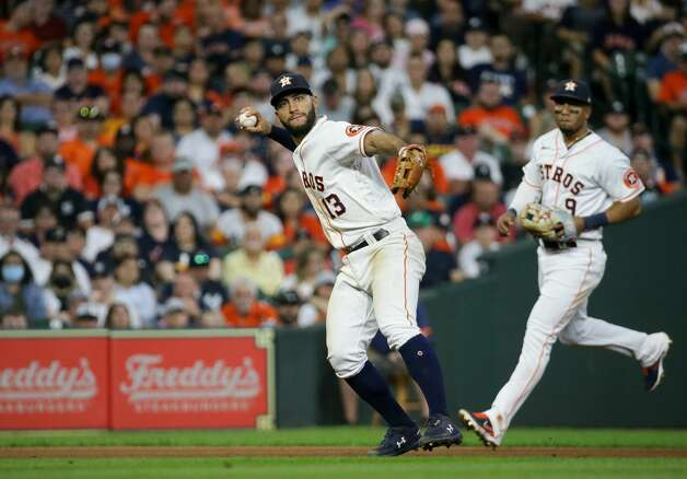 Houston Astros third baseman Abraham Toro (13) throws to first base for an out against the New York Yankees during the 9th inning of an MLB game at Minute Maid Park on Saturday, July 10, 2021, in Houston. Photo: Godofredo A Vásquez/Staff Photographer / © 2021 Houston Chronicle