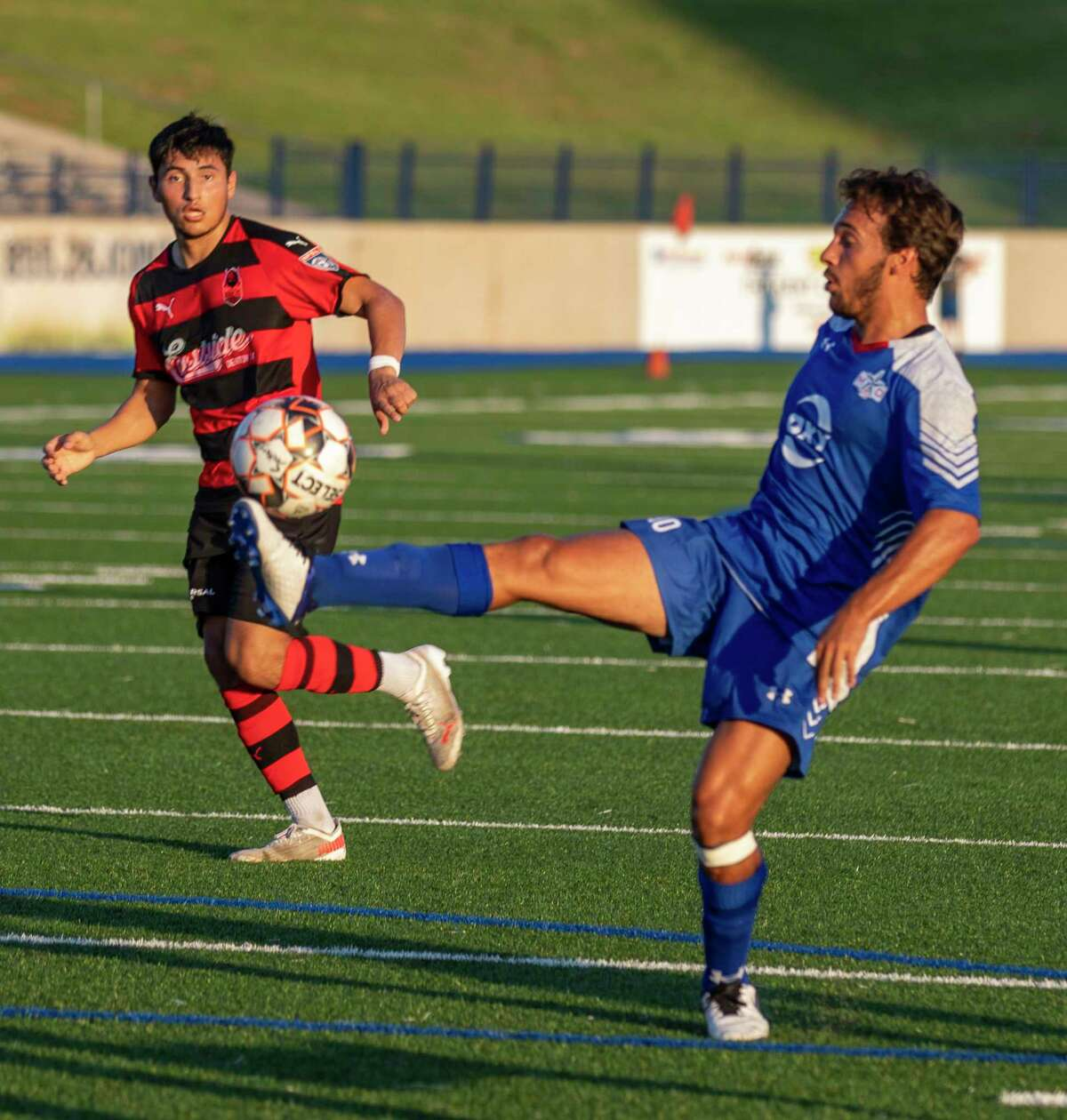 Sockers' Alonso Rodriguez reaches out to kick the ball Saturday, July 10, 2021 at Grande Communications Stadium. Jacy Lewis/Reporter-Telegram
