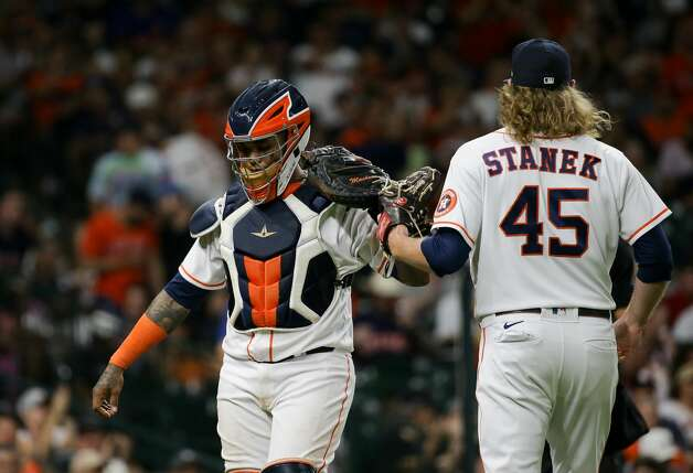 Houston Astros catcher Martin Maldonado (15) celebrates with relief pitcher Ryne Stanek (45) after a scoreless eighth inning against the New York Yankees during an MLB game at Minute Maid Park on Saturday, July 10, 2021, in Houston. Photo: Godofredo A Vásquez/Staff Photographer / © 2021 Houston Chronicle