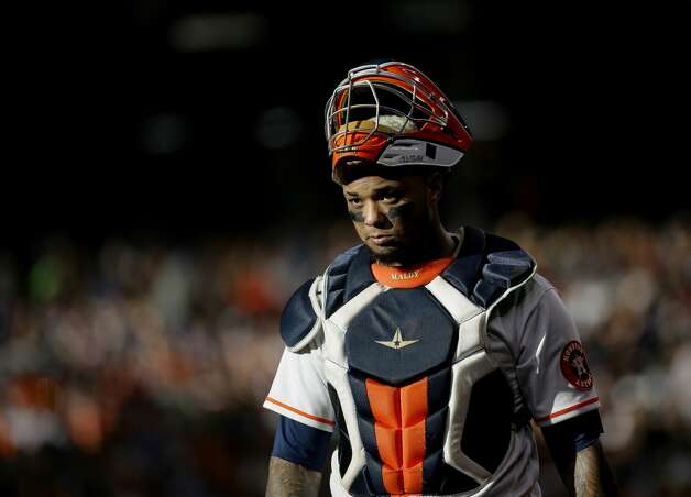 Houston Astros catcher Martin Maldonado (15) between pitches against the New York Yankees during the third inning of an MLB game at Minute Maid Park on Saturday, July 10, 2021, in Houston. Photo: Godofredo A Vásquez/Staff Photographer / © 2021 Houston Chronicle