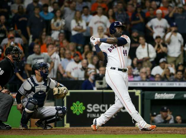 Houston Astros designated hitter Yordan Alvarez (44) strikes out New York Yankees starting pitcher Gerrit Cole (45) to end the game at Minute Maid Park on Saturday, July 10, 2021, in Houston. Photo: Godofredo A Vásquez/Staff Photographer / © 2021 Houston Chronicle
