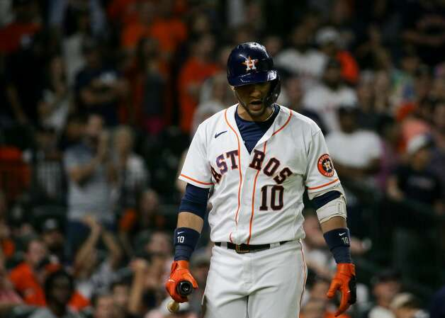 Houston Astros first baseman Yuli Gurriel (10) walks to the dugout after disagreeing with being called out on strikes in the 9th inning of an MLB game against the New York Yankees at Minute Maid Park on Saturday, July 10, 2021, in Houston. Photo: Godofredo A Vásquez/Staff Photographer / © 2021 Houston Chronicle