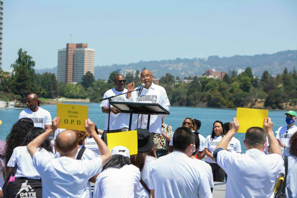 Oakland Violence Prevention Chief Guillermo Cespedes addresses the crowd during an anti-violence rally hosted by the Oakland Police Department.
