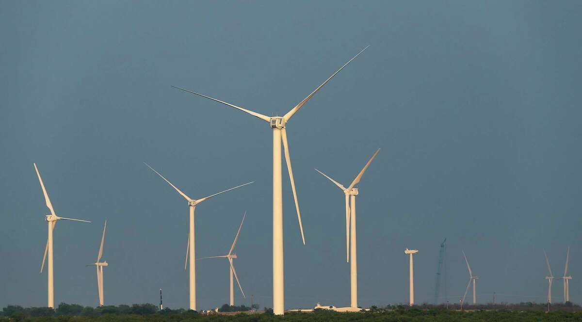 Windmills on a windmill farm in North Texas on Thursday, May 21, 2020.